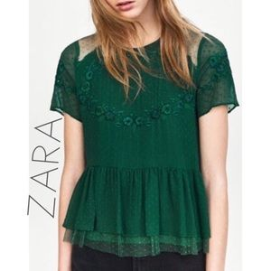 Zara Green Swiss Dot Embroidered Peplum Top